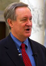 U.S. Senator Mike Crapo speaking to the media inside the Idaho State Capitol building located in Boise, Idaho, USA.