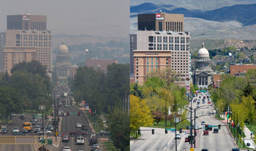 Smoke from forest fires in the Northwest portion of the USA has settled on the capitol city of Boise, Idaho Thursday August 20  (left).  The unhealthy air covers the entire state, prompting