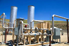 Methane gas recovery equipment generates electricity at a sanitary land fill in Boise, Idaho. trash, landfill, land fill, methane, gas, generator, power, electricity, energy, sanitary land fill, methane gas