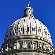 Exterior dome of the Idaho State Capitol building located in Boise, Idaho, USA.