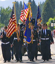 United States military veteran Color Guard on parade during 4th of July festivities in Cascade, Idaho, USA.