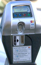 Parking meter that accepts credit cards for payment in San Francisco, California, USA.