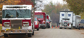 Jessie St. had traffic jam of police, fire, bomb squad vehicles. --GUARDIAN photo