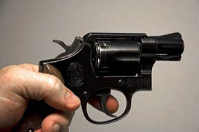 Finger on the trigger of a Smith and Wesson .38 caliber snub nose revolver.